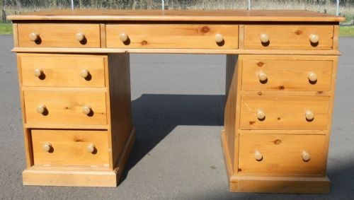 Victorian Style Pine Kneehole Writing Desk